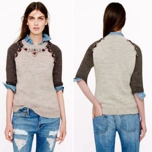 J Crew Wool Tan Jeweled Sweater Short Sleeve XS